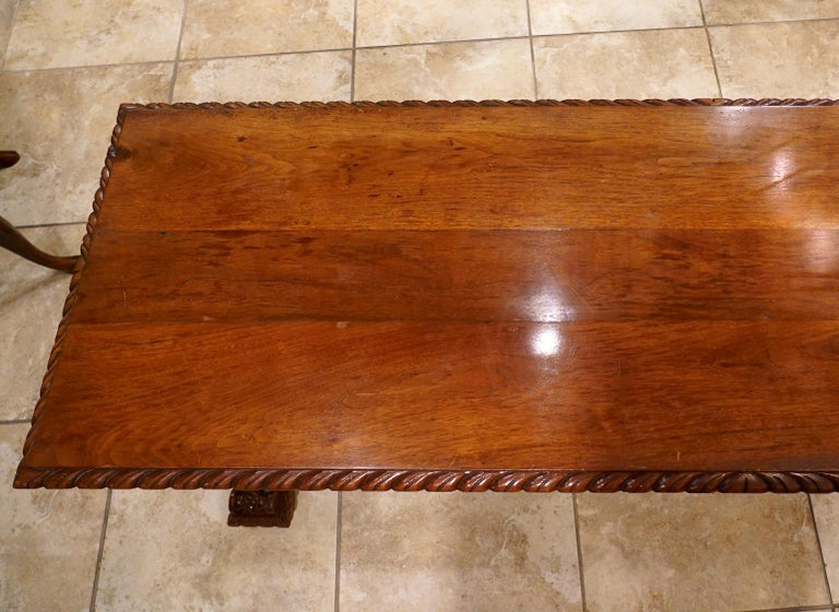 Early 20th Century American Carved Walnut Threstle Base Library or Center Table For Sale 2