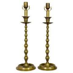 Early 20th Century American Colonial Brass Candlestick Lamps 'Pair'