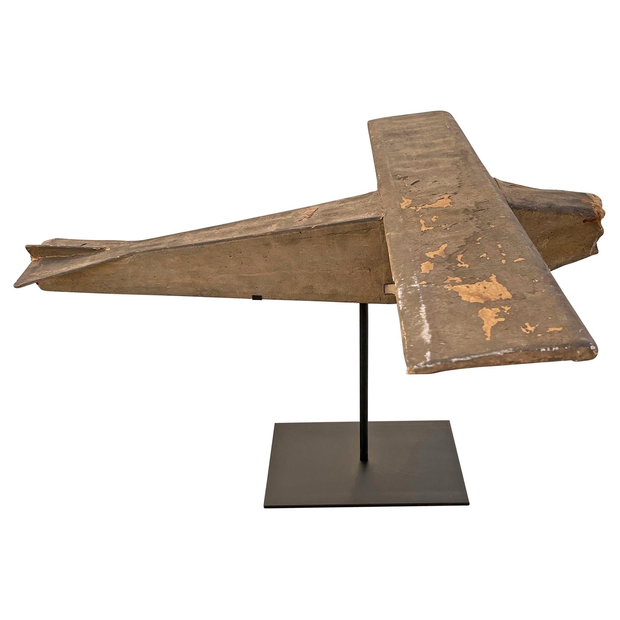 Early 20th Century American Folk Art Bush Plane Model on Custom Mount