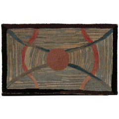 Early 20th Century American Hook Rug Wall Hanging