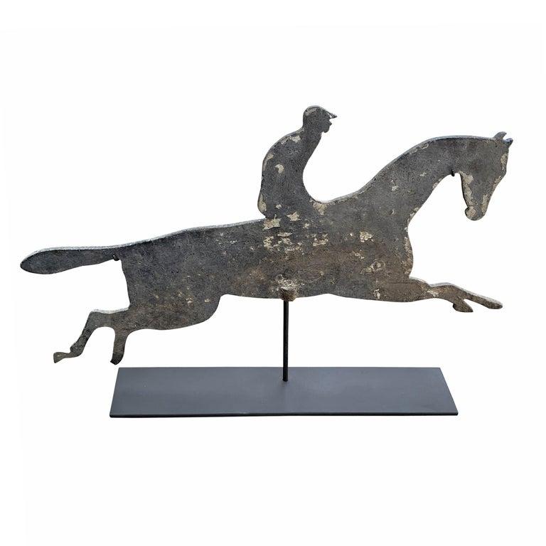Folk Art Early 20th Century American Horse and Jockey Weathervane For Sale