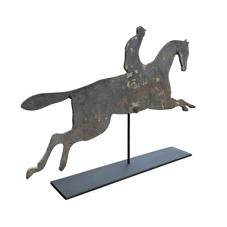 Early 20th Century American Horse and Jockey Weathervane In Good Condition For Sale In Chicago, IL