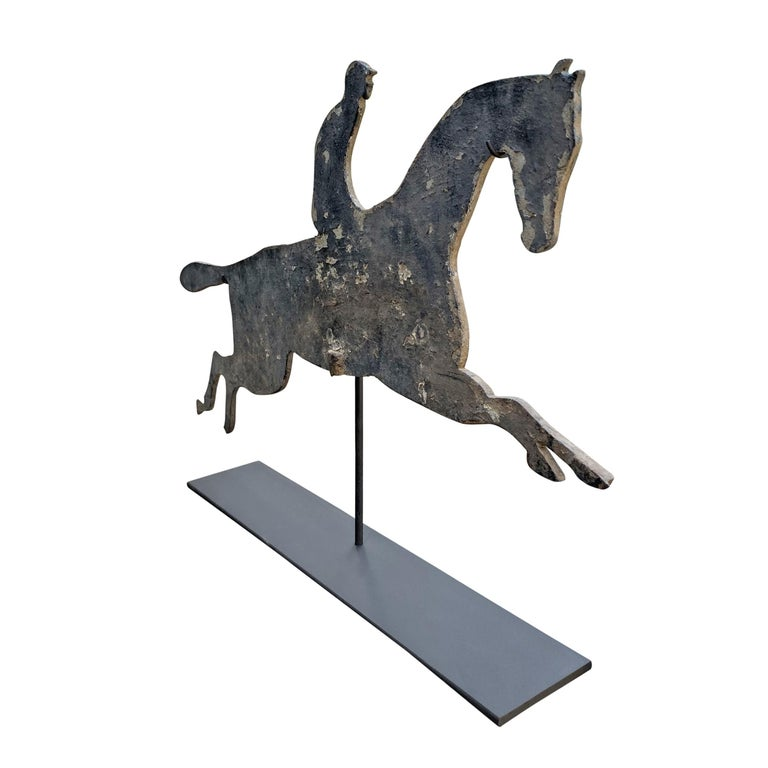 Aluminum Early 20th Century American Horse and Jockey Weathervane For Sale