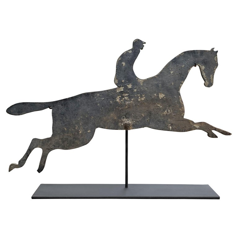 Early 20th Century American Horse and Jockey Weathervane For Sale