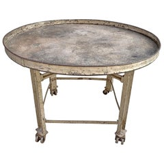 Early 20th Century American Industrial Table with Lazy Susan Top