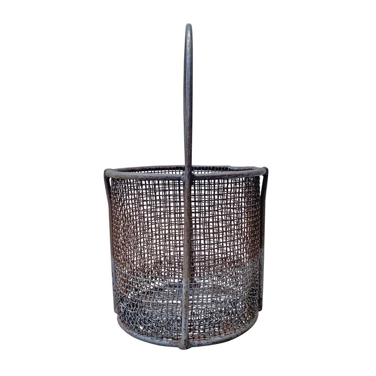 Early 20th century American Industrial wire basket with a wonderful wire.