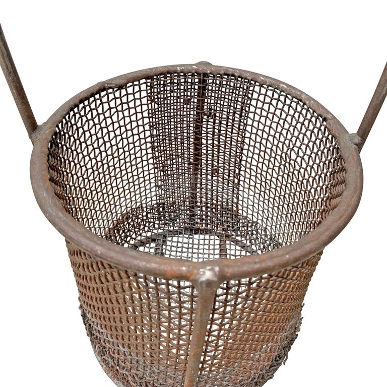 Steel Early 20th Century American Industrial Wire Basket For Sale