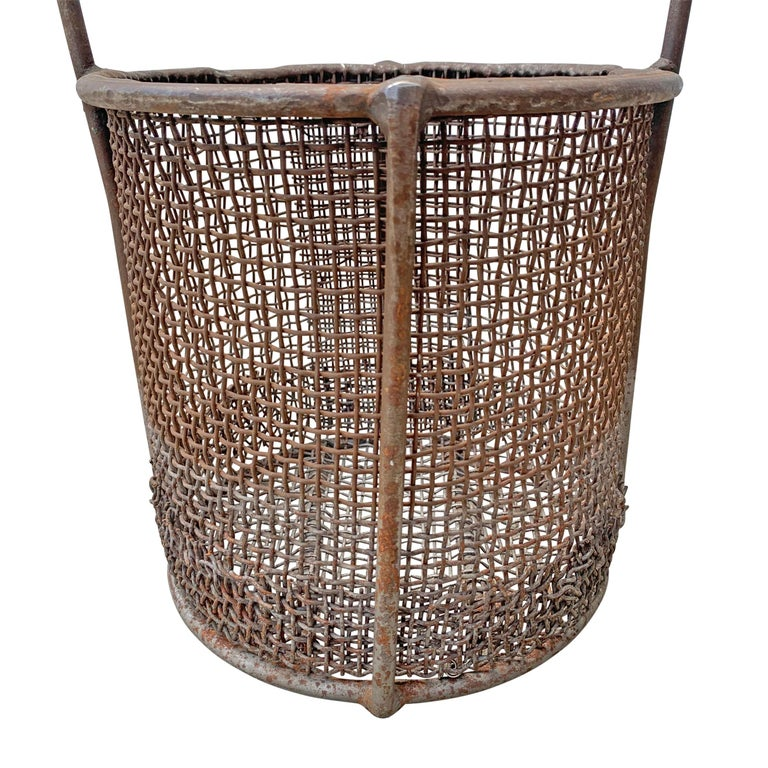 Early 20th Century American Industrial Wire Basket For Sale 1