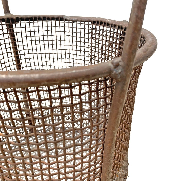 Early 20th Century American Industrial Wire Basket For Sale 2