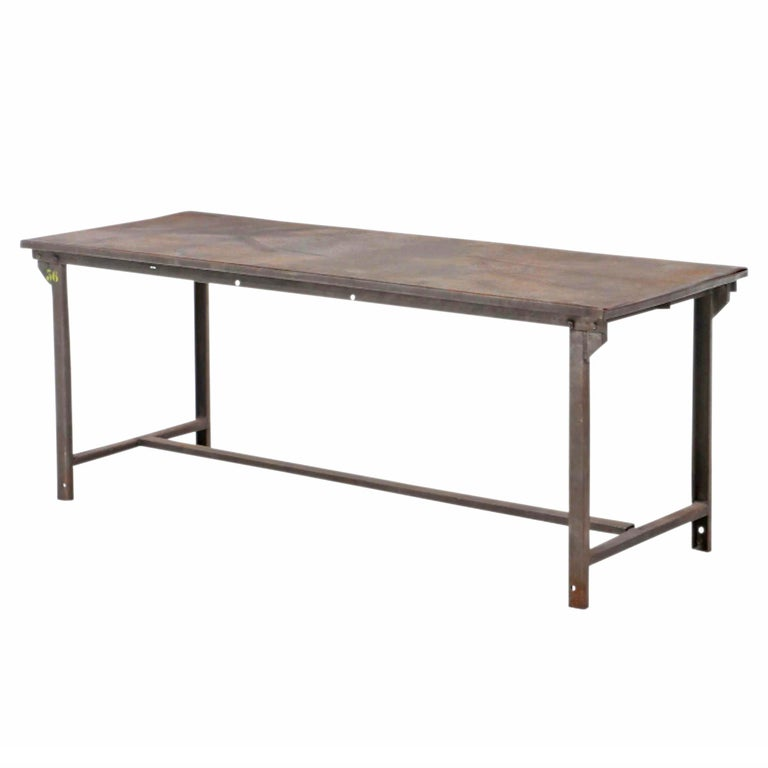 Early 20th Century American Industrial Work Table In Good Condition For Sale In Chicago, IL