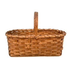 Early 20th Century American Oak Splint Gathering Basket