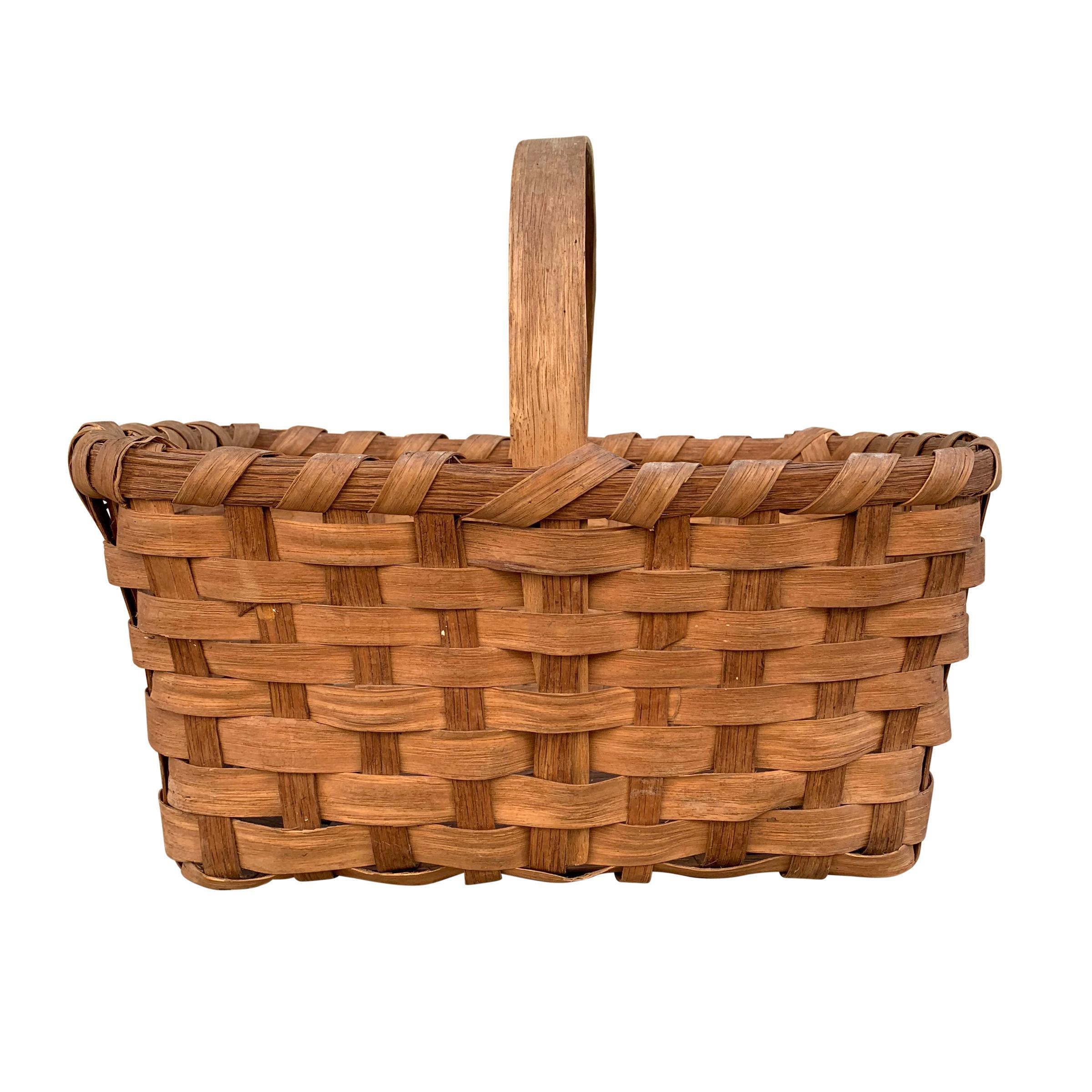 Early 20th Century American Oak Splint Gathering Basket