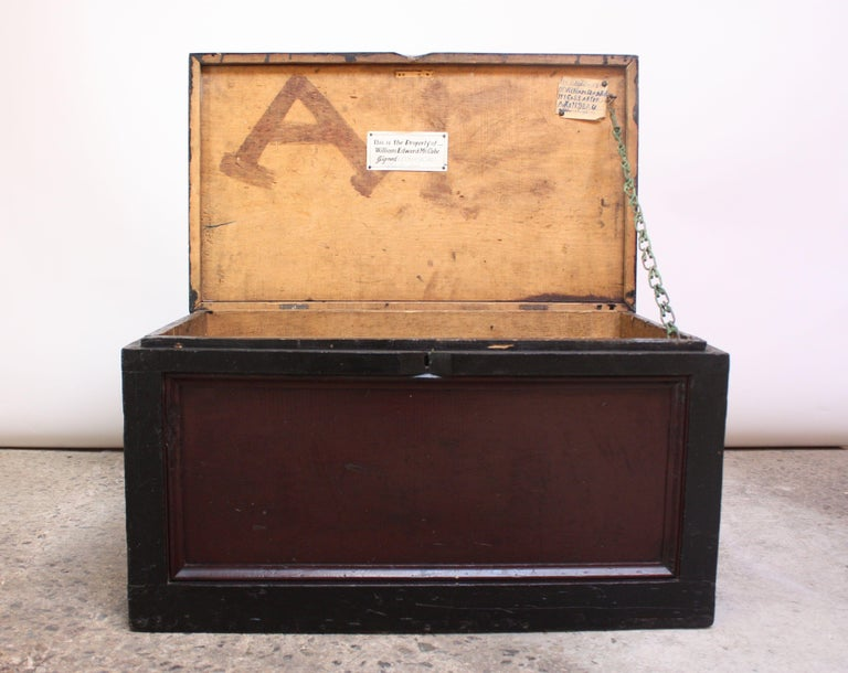 Early 20th Century American Painted Trunk or Blanket Chest For Sale 1