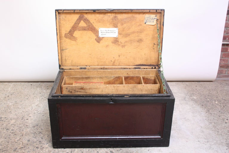 Early 20th Century American Painted Trunk or Blanket Chest For Sale 2