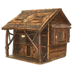 Early 20th Century American Rustic Miniature Log Cabin Doll House Model