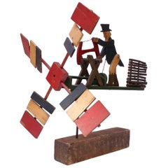 Early 20th Century Americana Uncle Sam Lumberjack Whirligig