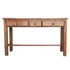 Early 20th Century Anglo Indian Bone Inlay Three Drawer Teakwood Side Table