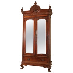 Early 20th Century Anglo-Indian Mahogany Armoire Storage Cabinet