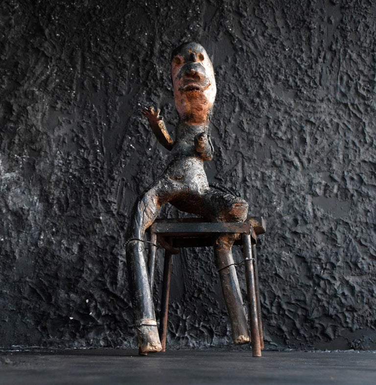 Early 20th Century Anthropomorphic Outsider Folk Art Seated Figure For Sale 5