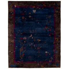 Antique Art Deco Chinese Navy Blue Wool Rug 8 Ft 11 X 11 Ft 4 In.