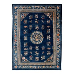 Early 20th Century Antique Art Deco Chinese Peking Wool Rug
