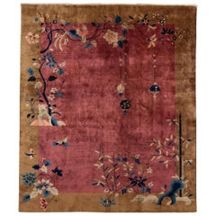 Early 20th Century Antique Art Deco Chinese Red Wool Rug