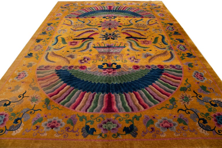 Early 20th Century Antique Art Deco Chinese Rug For Sale 8