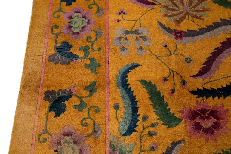 Early 20th Century Antique Art Deco Chinese Rug For Sale 9