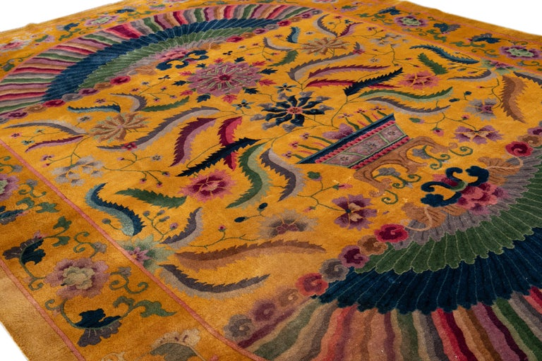 Early 20th Century Antique Art Deco Chinese Rug For Sale 10
