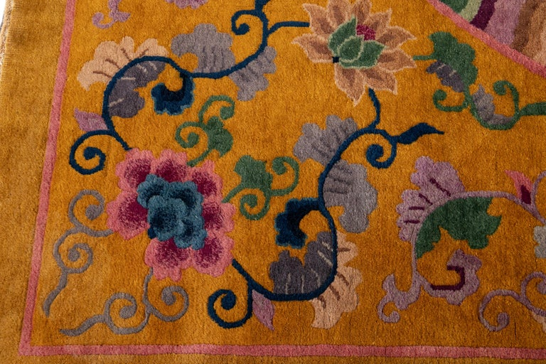 Hand-Knotted Early 20th Century Antique Art Deco Chinese Rug For Sale