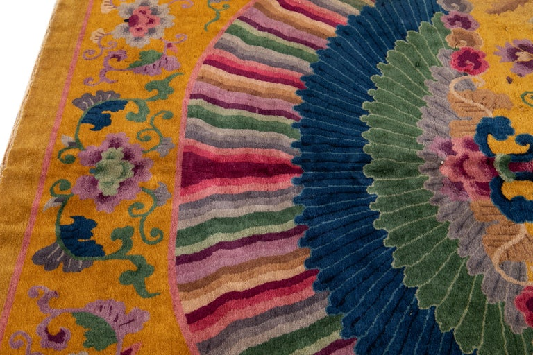 Early 20th Century Antique Art Deco Chinese Rug In Good Condition For Sale In Norwalk, CT