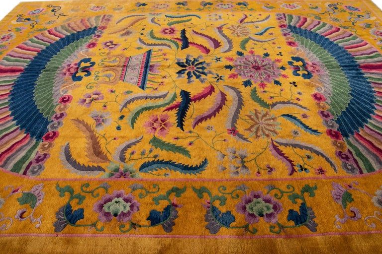 Wool Early 20th Century Antique Art Deco Chinese Rug For Sale