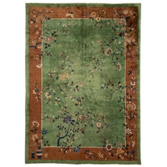 Antique Green Art Deco Chinese Wool Rug 9 Ft X 11 Ft 6 In.