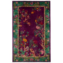 Antique Purple Art Deco Chinese Rug 8 Ft 9 In X 14 Ft 3 In.