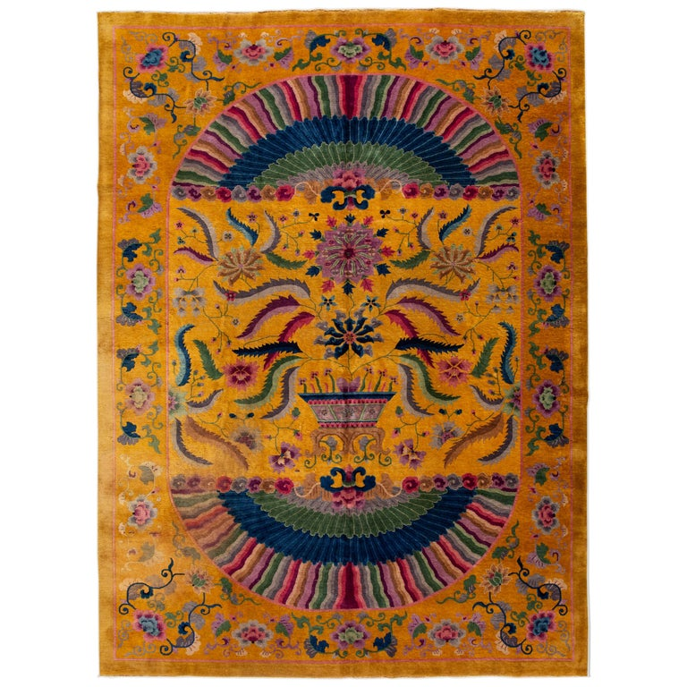 Early 20th Century Antique Art Deco Chinese Rug For Sale