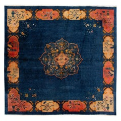 Early 20th Century Antique Art Deco Chinese Square Wool Rug