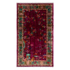 Large Antique Red Art Deco Chinese Wool Rug 10 Ft 9 In X 19 Ft 3 In.