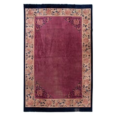 Antique Art Deco Chinese Purple Wool Rug 11 Ft 11 In X 19 Ft 2 In.