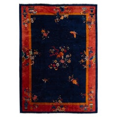 Antique Blue Art Deco Chinese Wool Rug7 Ft X 9 Ft 7 In.