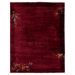 Antique Burgundy Red Art Deco Chinese Wool Rug 9 Ft X 11 Ft 6 In