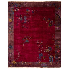 Antique Red Art Deco Chinese Wool Rug 8 Ft 10 In X 11 Ft 4 In.