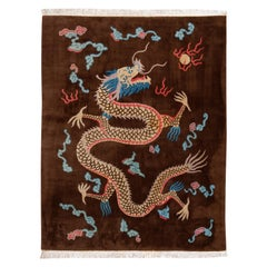Brown Antique Dragon Art Deco Chinese Wool Rug 9 Ft 1 In X 11 Ft 10 In.