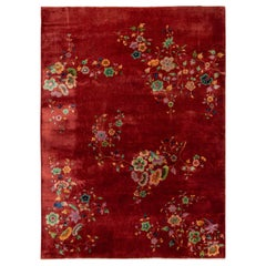 Antique Red Art Deco Chinese Wool Rug 9 Ft 10 In X 13 Ft 4 In.