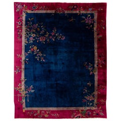 Early 20th Century Antique Art Deco Chinese Wool Rug