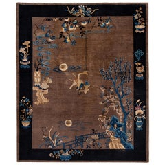 Early 20th Century Antique Art Deco Peking Chinese Wool Rug
