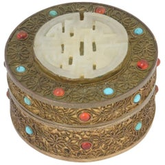 Early 20th Century Antique Asian Jeweled Gilt-Brass Trinket Box
