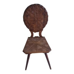 Early 20th Century Antique Carved Wood Chair