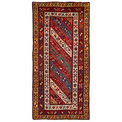 Early 20th Century Antique Caucasian Kazak Runner Wool Rug