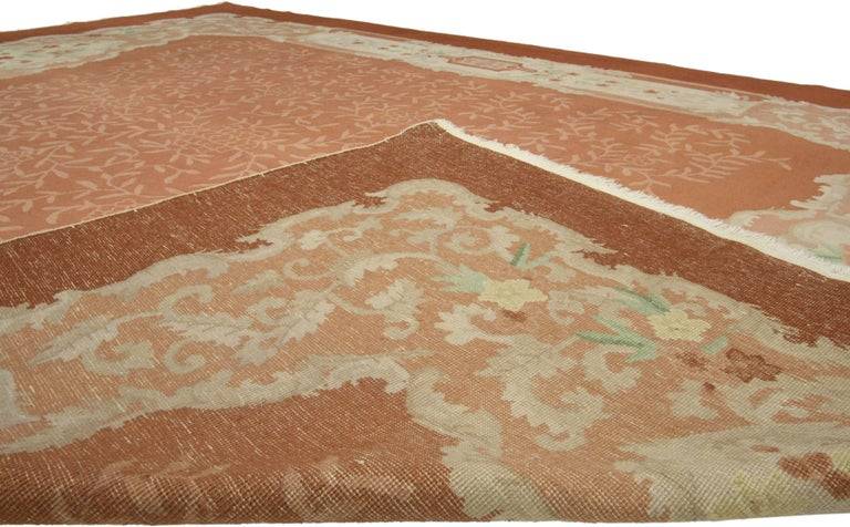 Chinese Chippendale Early 20th Century Antique Chinese Art Deco Rug For Sale