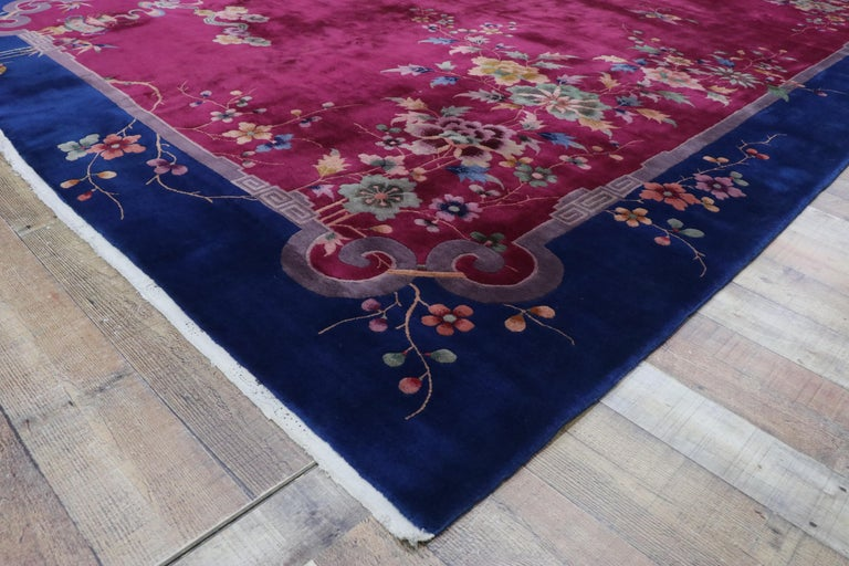 Early 20th Century Antique Chinese Art Deco Rug For Sale 1